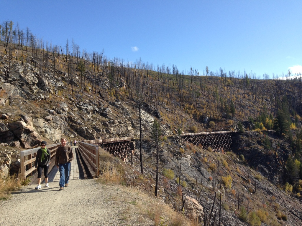トレッスル橋の連続が人気のマイラ渓谷(Myra Canyon)