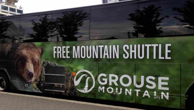 無料シャトルバス(5~9月)でのグラウスマウンテンへの行き方