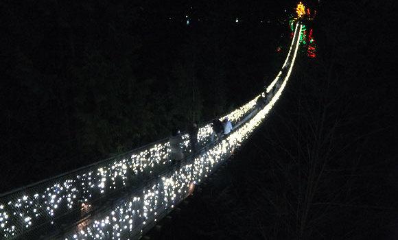 """冬限定(2017年11月23日~2018年1月28日)・キャピラノ吊り橋のライトアップ・イルミネーション""""Canyon Lights"""""""