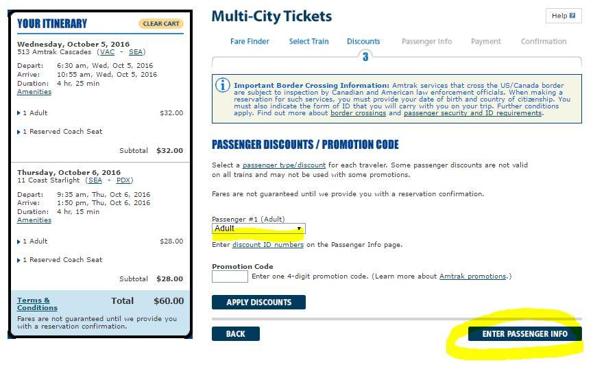 enter passenger info